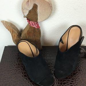 Franco Sarto Firefly Peep Toe Suede Mule Size 7M